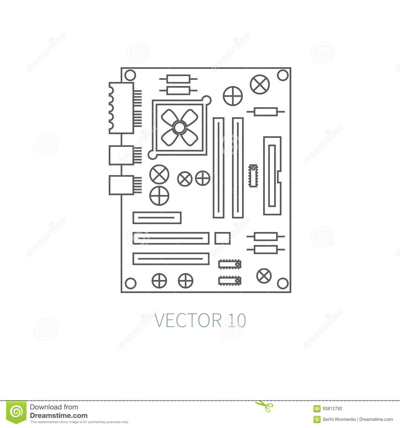 Motherboard simple diagram diy wiring diagrams flat line vector computer part icon motherboard cartoon style rh dreamstime com computer motherboard diagram with label simple motherboard diagram with ccuart Image collections