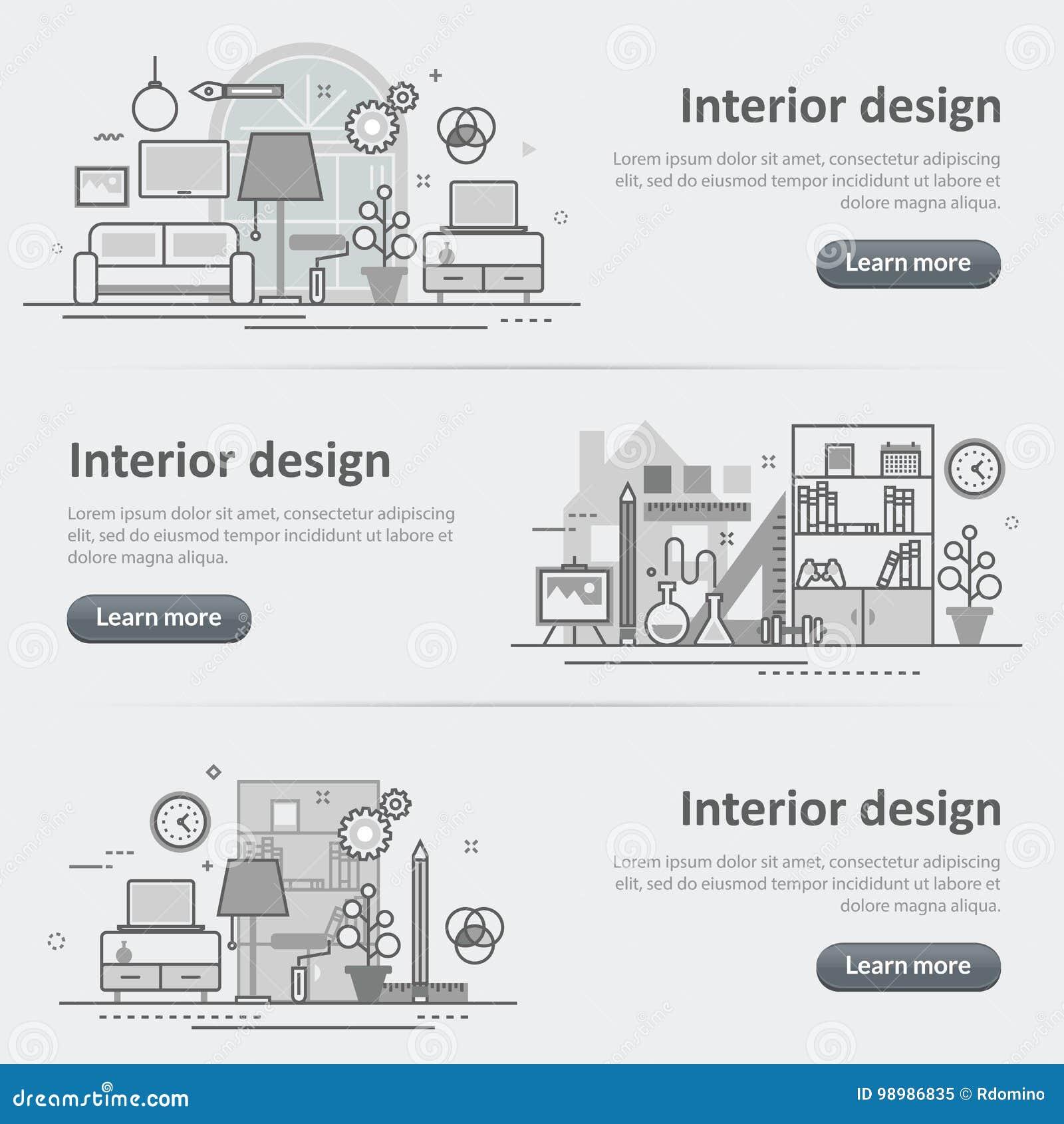 Interior Design Process Decoration Set Of Banner And