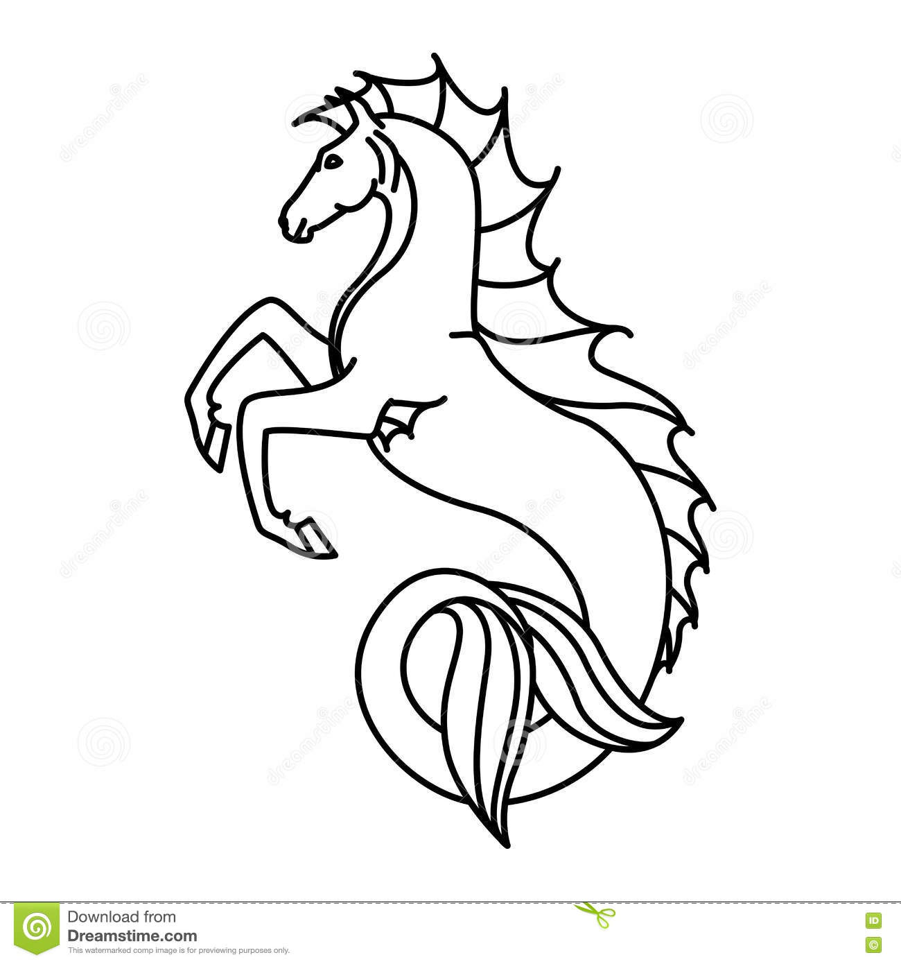 Flat Linear Hippocampus Illustration Vector