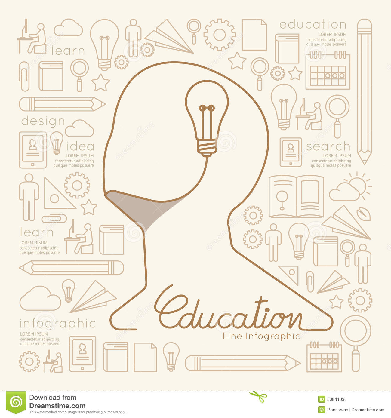 Flat linear Infographic Education Man Creative Thinking.