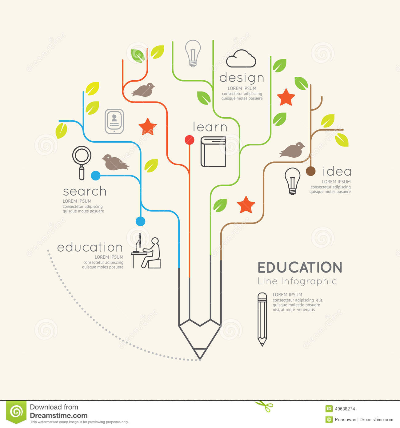 Graphic Site Map: Flat Linear Infographic Education Pencil Tree Outline