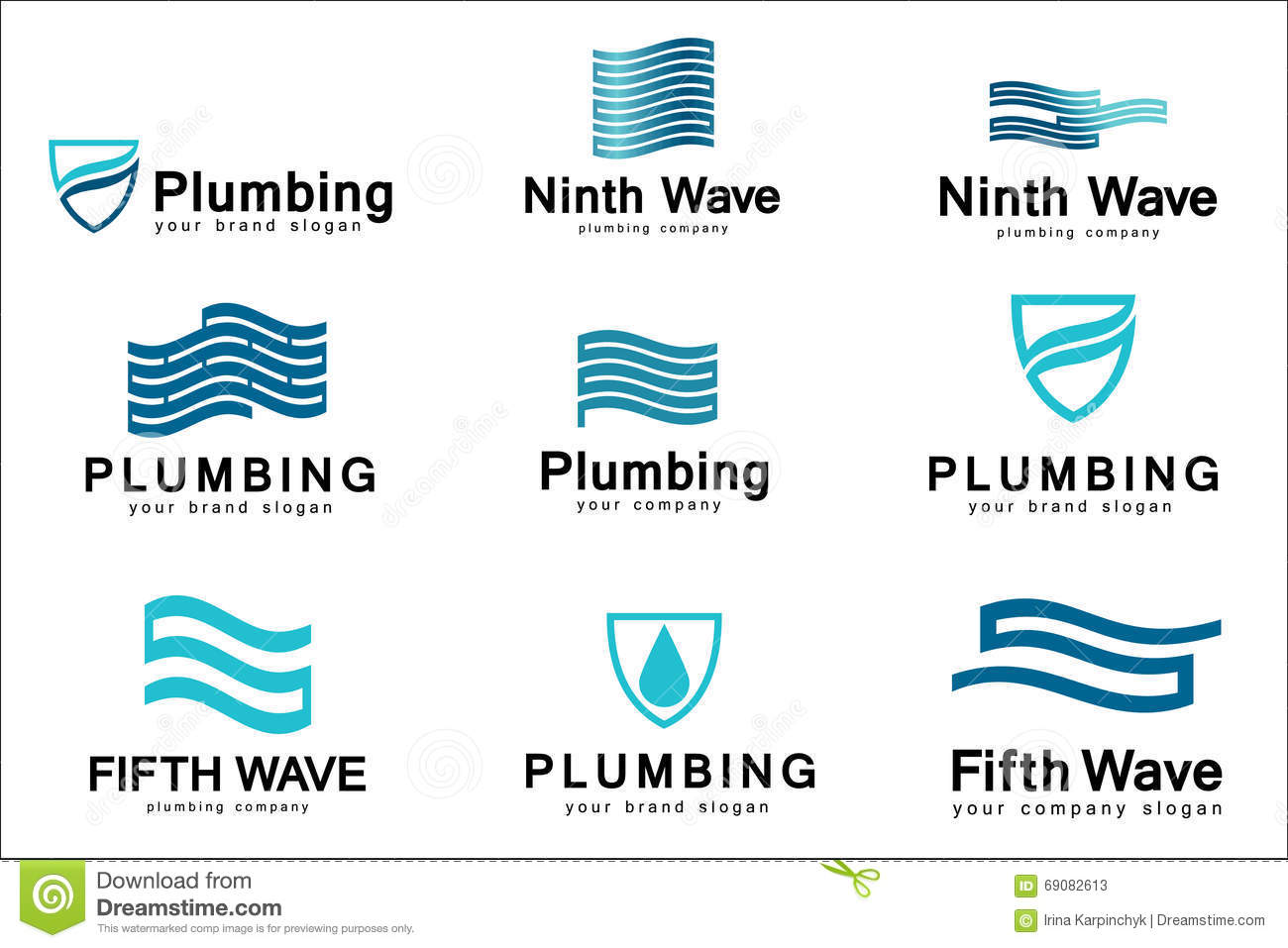 Flat logo design for plumbing company vector templates for Design company