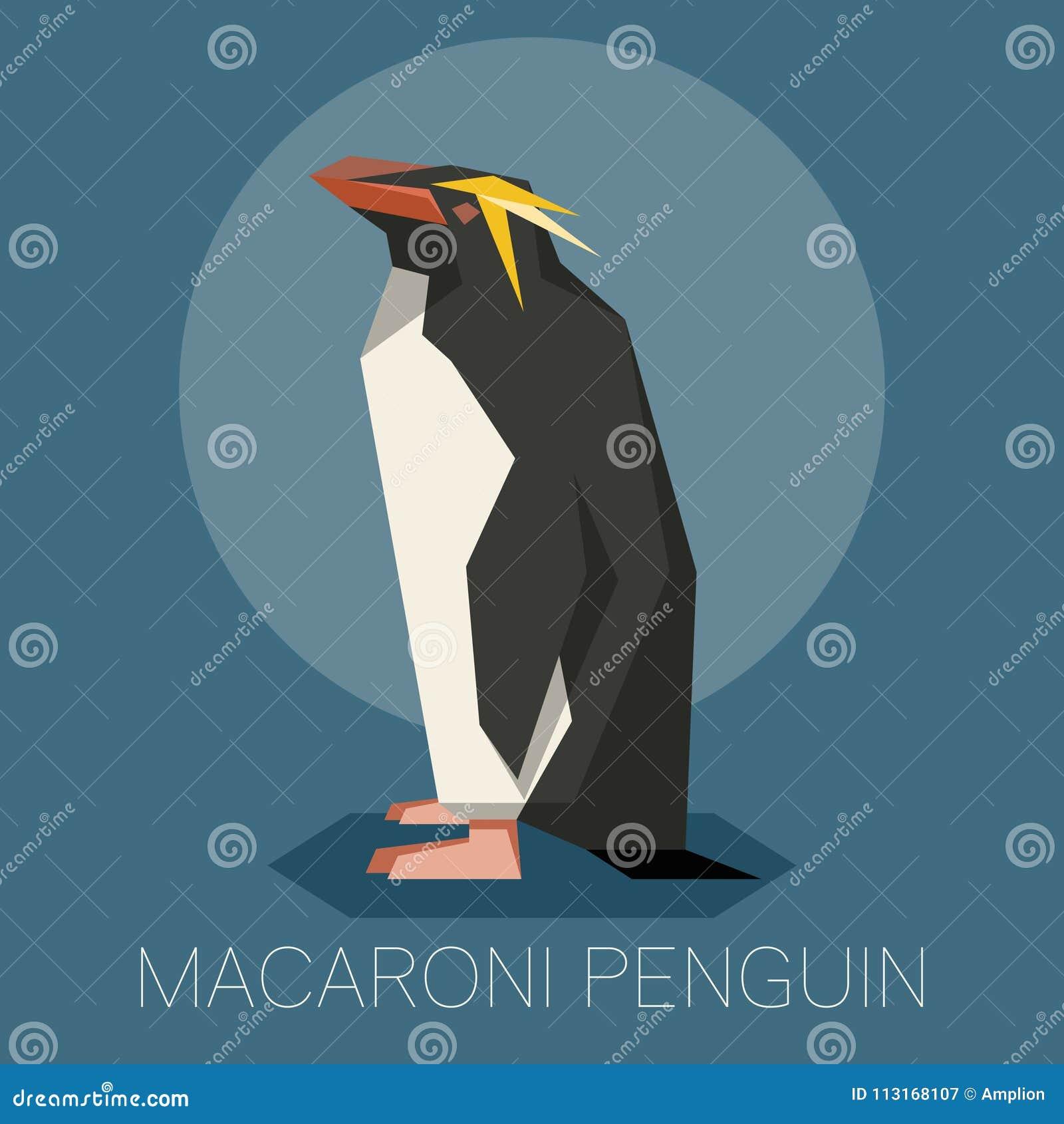 Flat Macaroni Penguin Stock Vector Illustration Of Cartoon 113168107