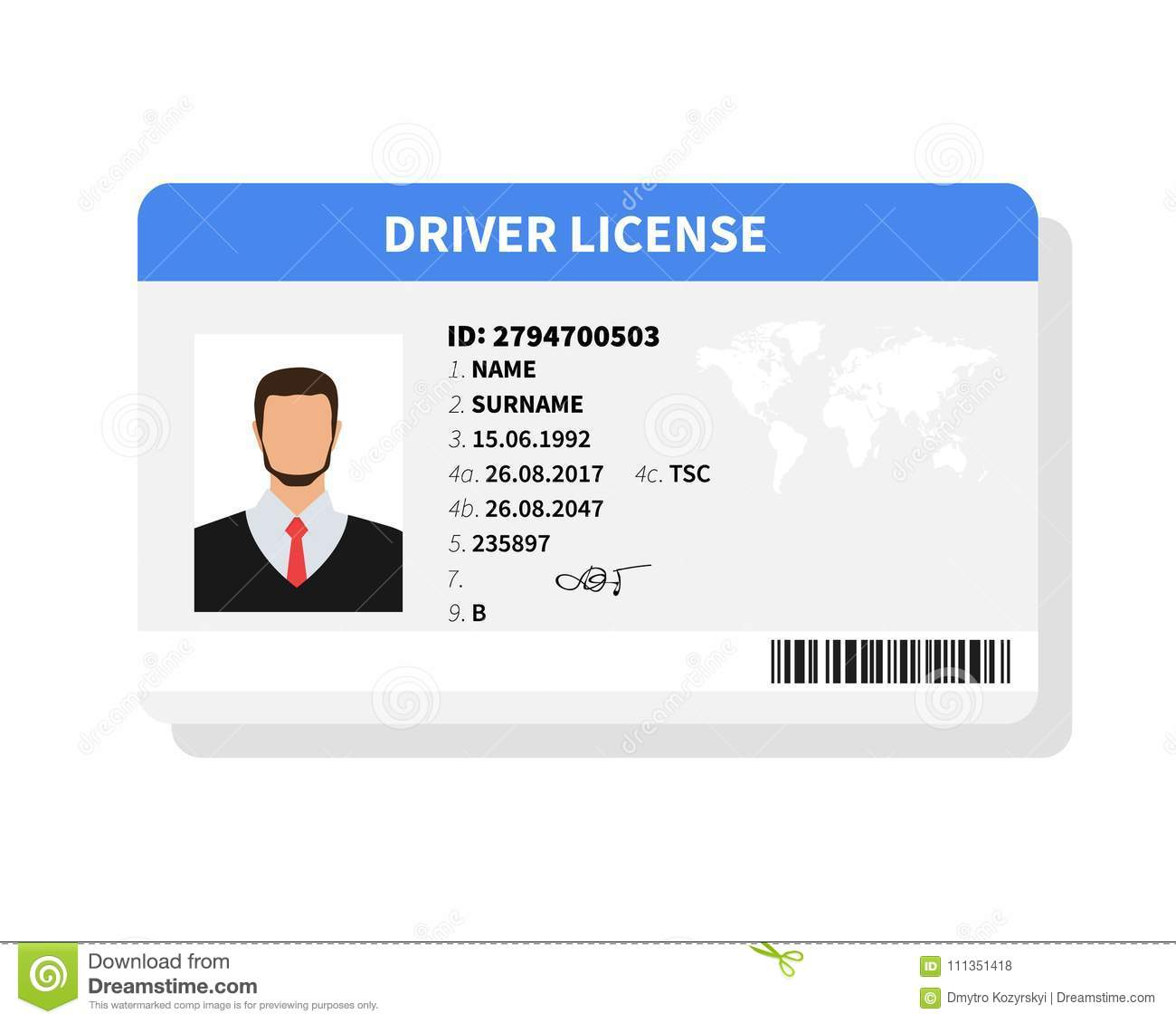 flat man driver license plastic card template identification card