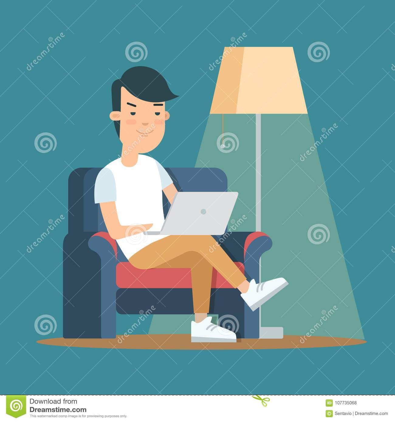 Flat Man Home Interior With Laptop Leisure Stock Illustration