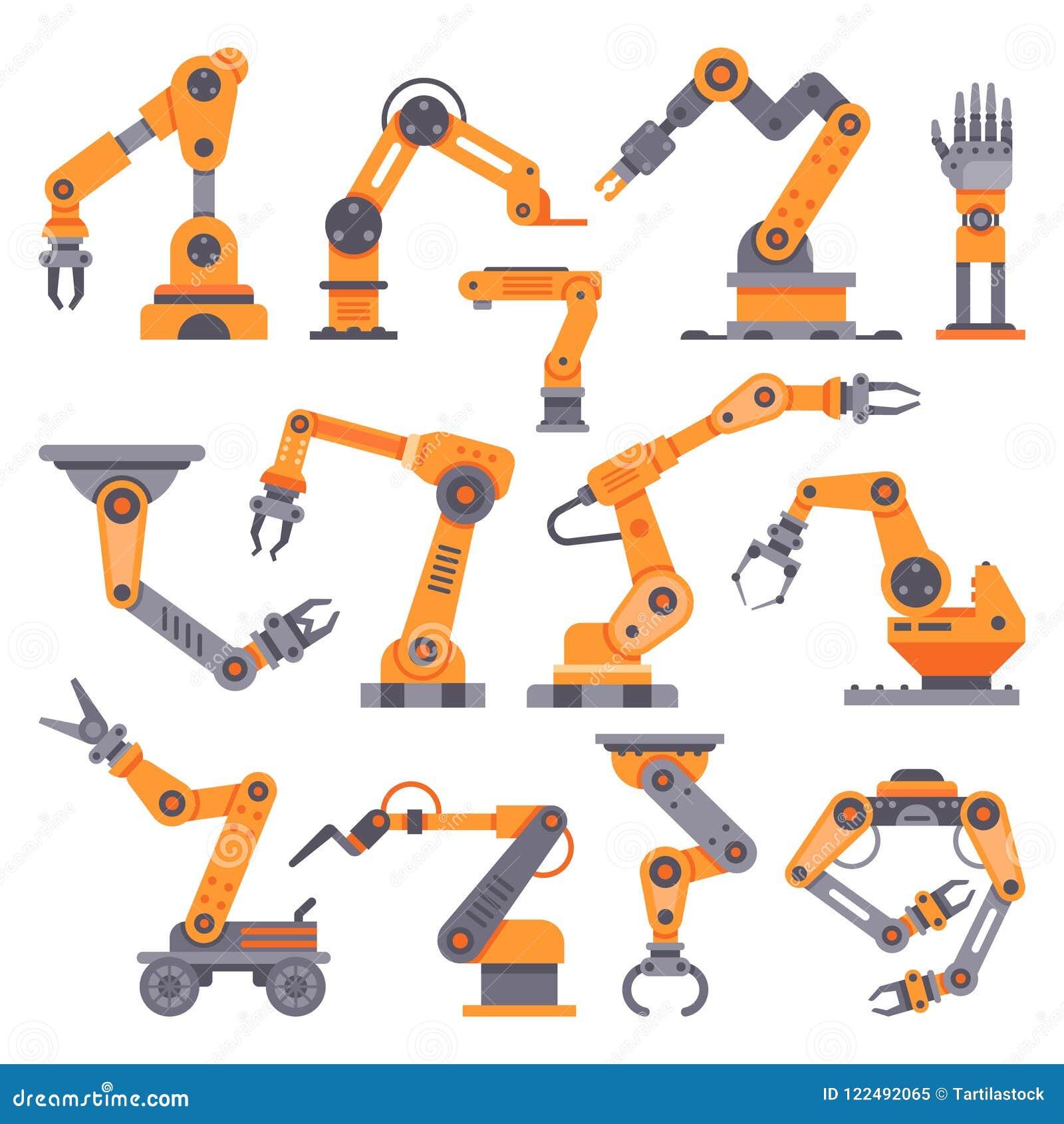 Flat manufacture robotic arm. Automatic robot arms, auto factory conveyor industrial equipment. Electronics robots hands