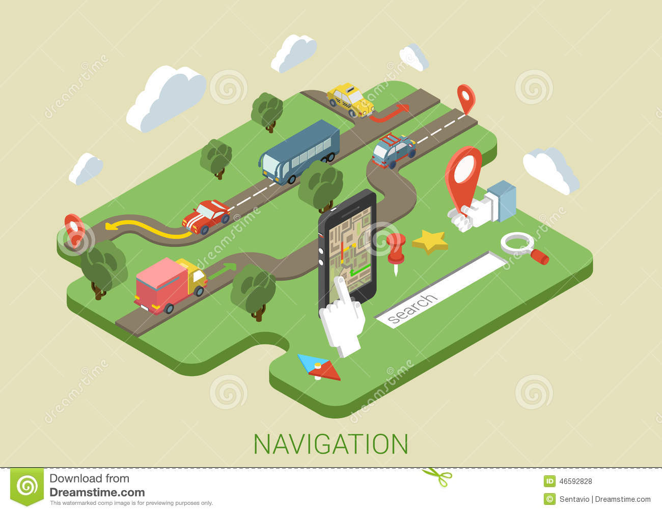 Flat Map Mobile Phone Gps Navigation 3d Isometric Concept