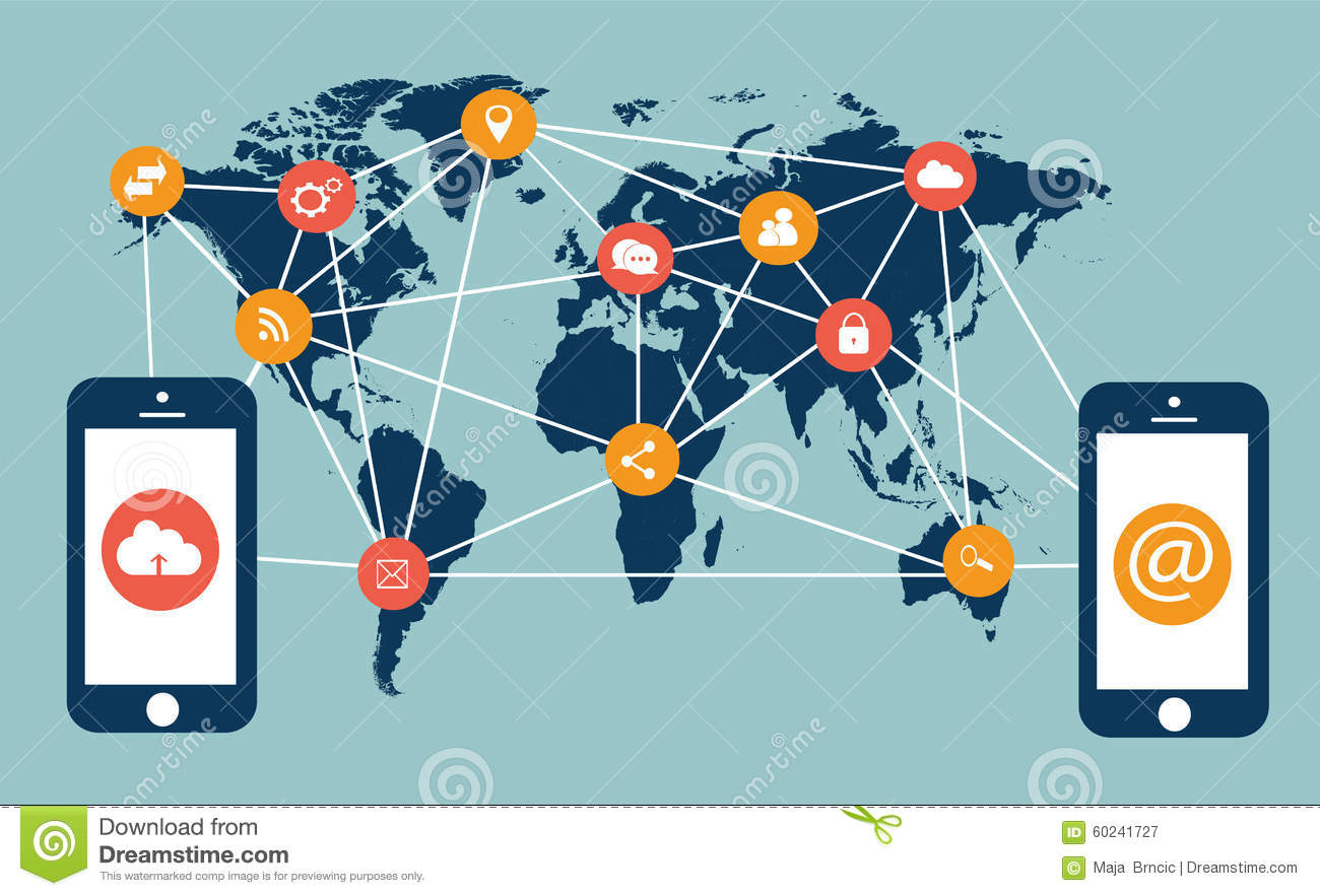 Flat media icons with mobile phones and world map stock vector flat media icons with mobile phones and world map royalty free vector publicscrutiny Choice Image