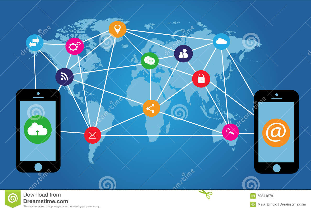 Flat media icons with mobile phones and world map stock vector flat media icons with mobile phones and world map global internet publicscrutiny Choice Image