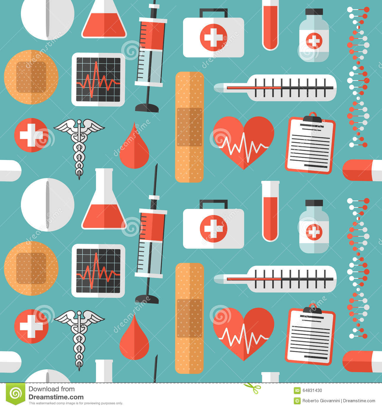 Flat Medical Icons Seamless Pattern
