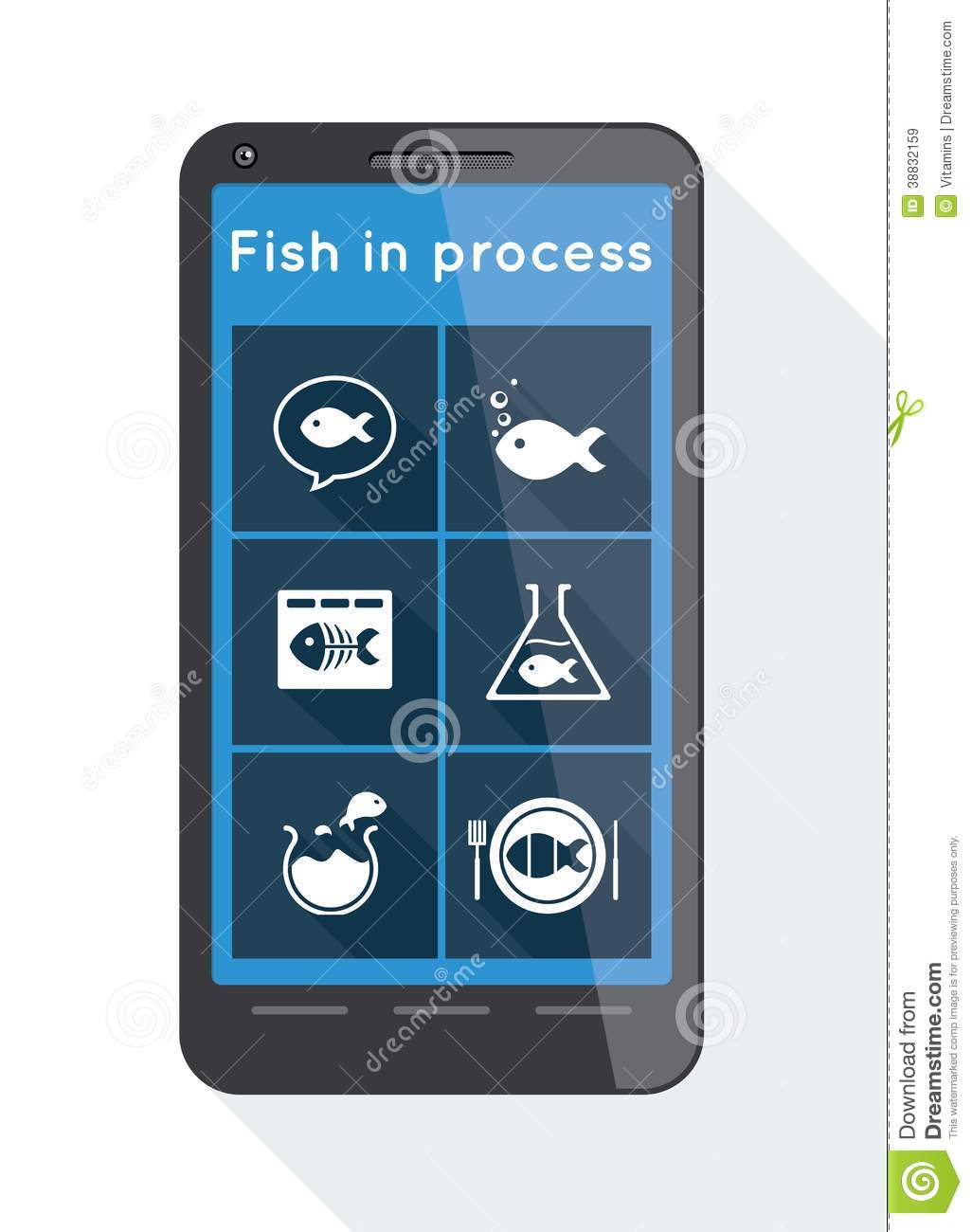 Flat menu buttons with fish icons on smartphone stock for Little fish menu