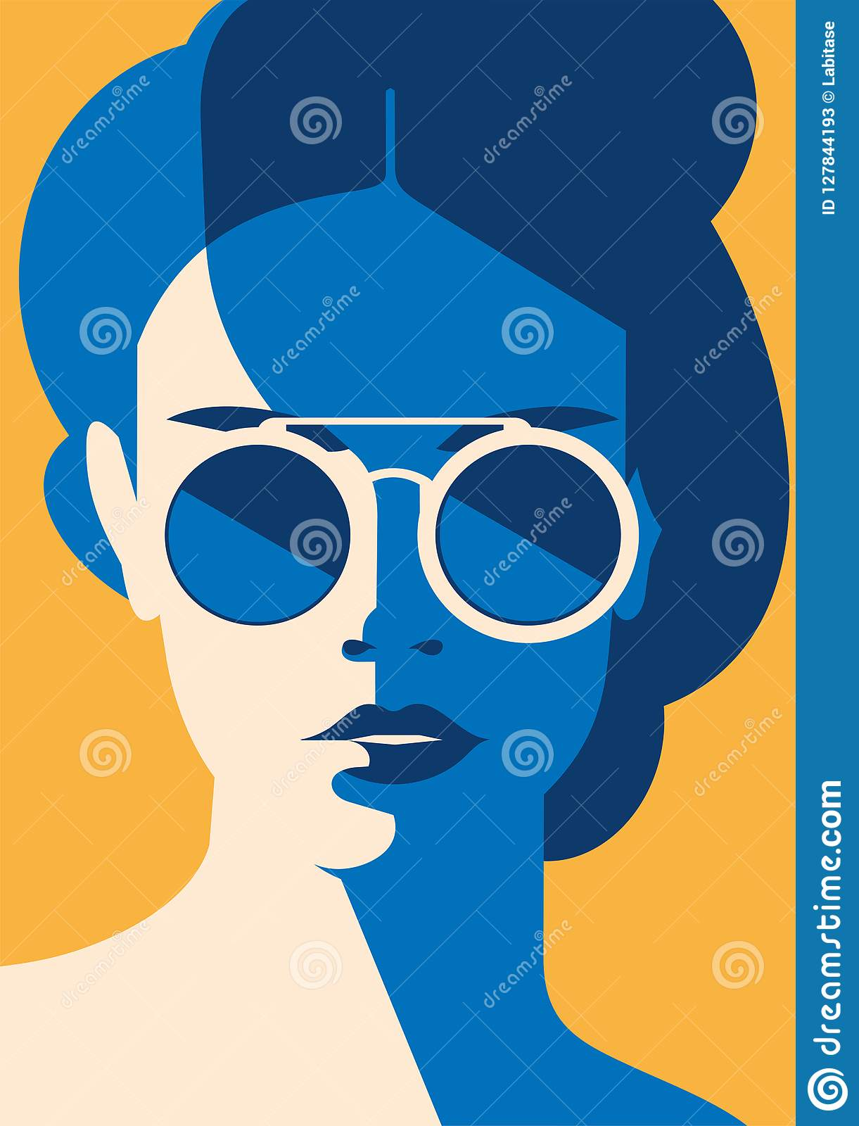 Fashion portrait of a model girl with sunglasses. Retro trendy colors poster or flyer.