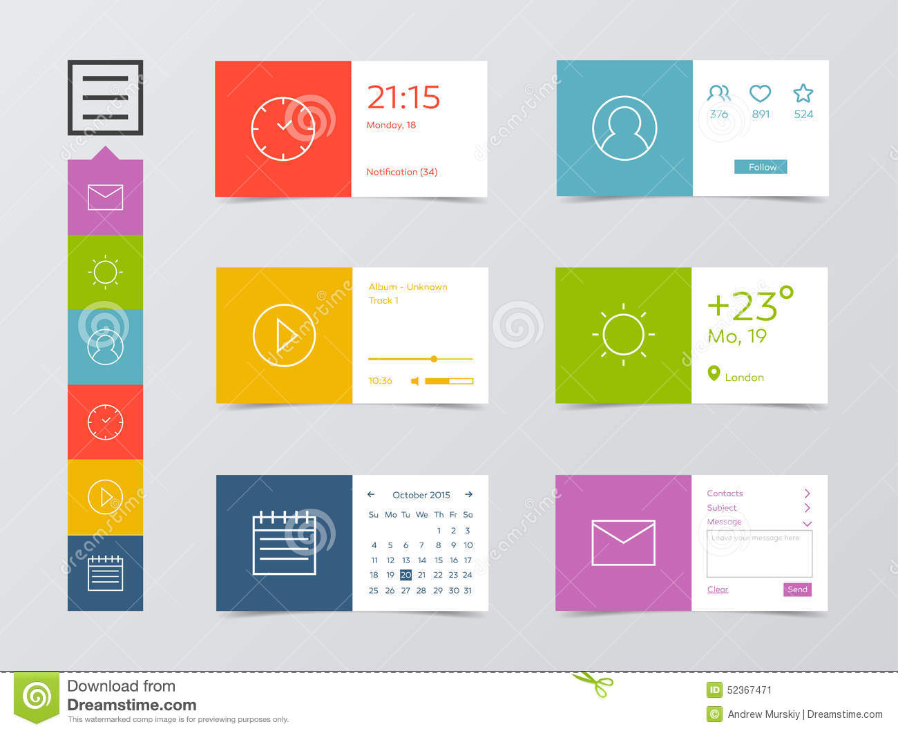 Calendar Design For Website : Flat mobile web ui kit stock vector illustration of