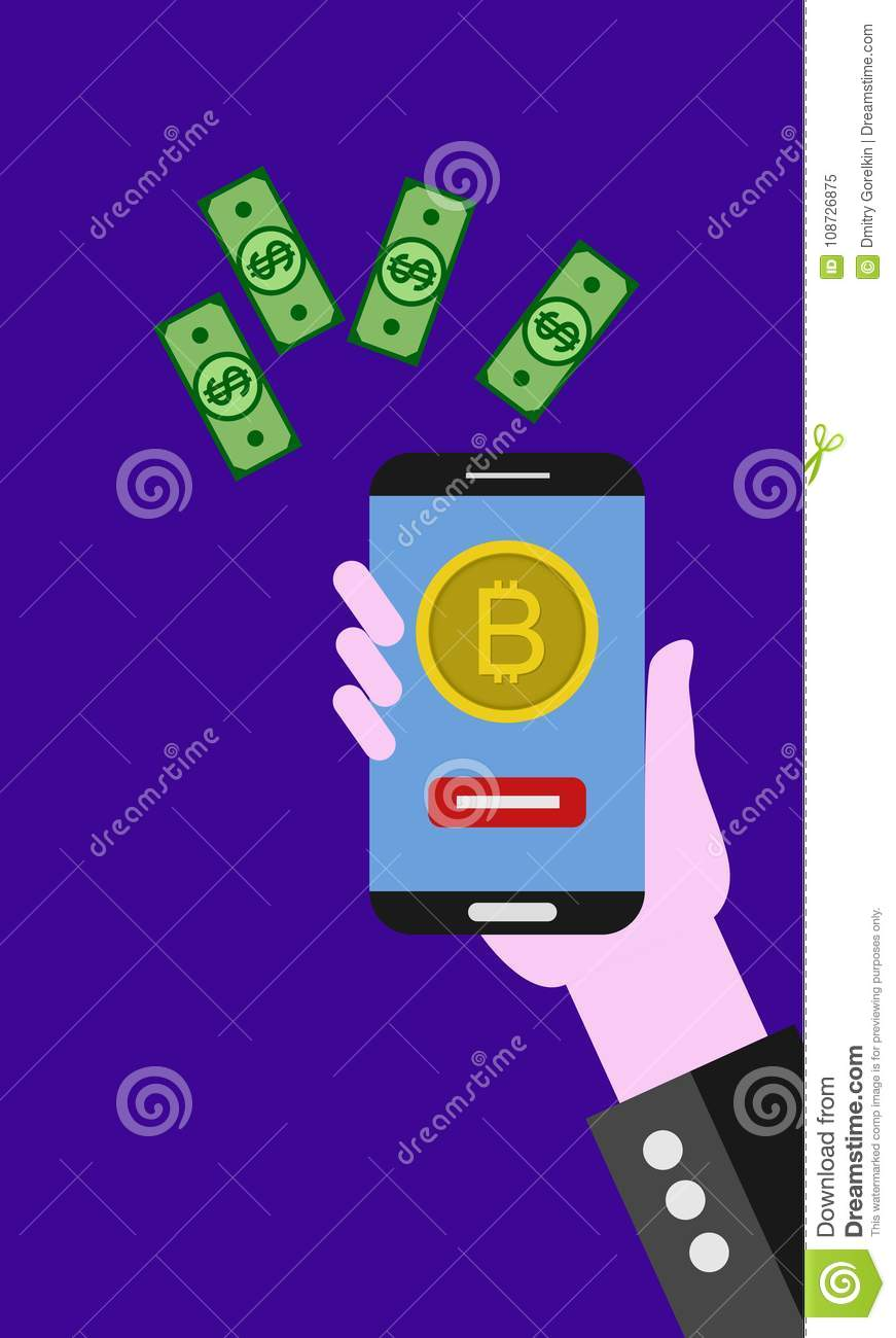 Flat modern design concept of cryptocurrency technology, bitcoin exchange, mobile banking.