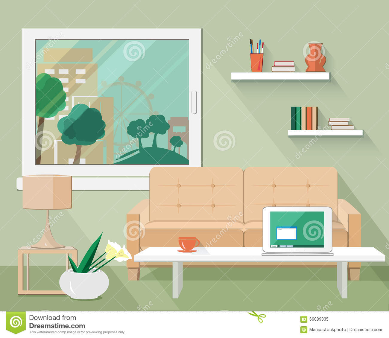 Flat modern design vector illustration of living room for Room design vector