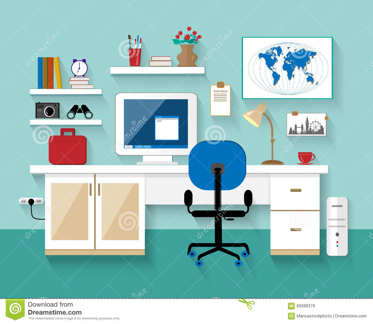 Flat modern design vector illustration of workplace in for Room design vector