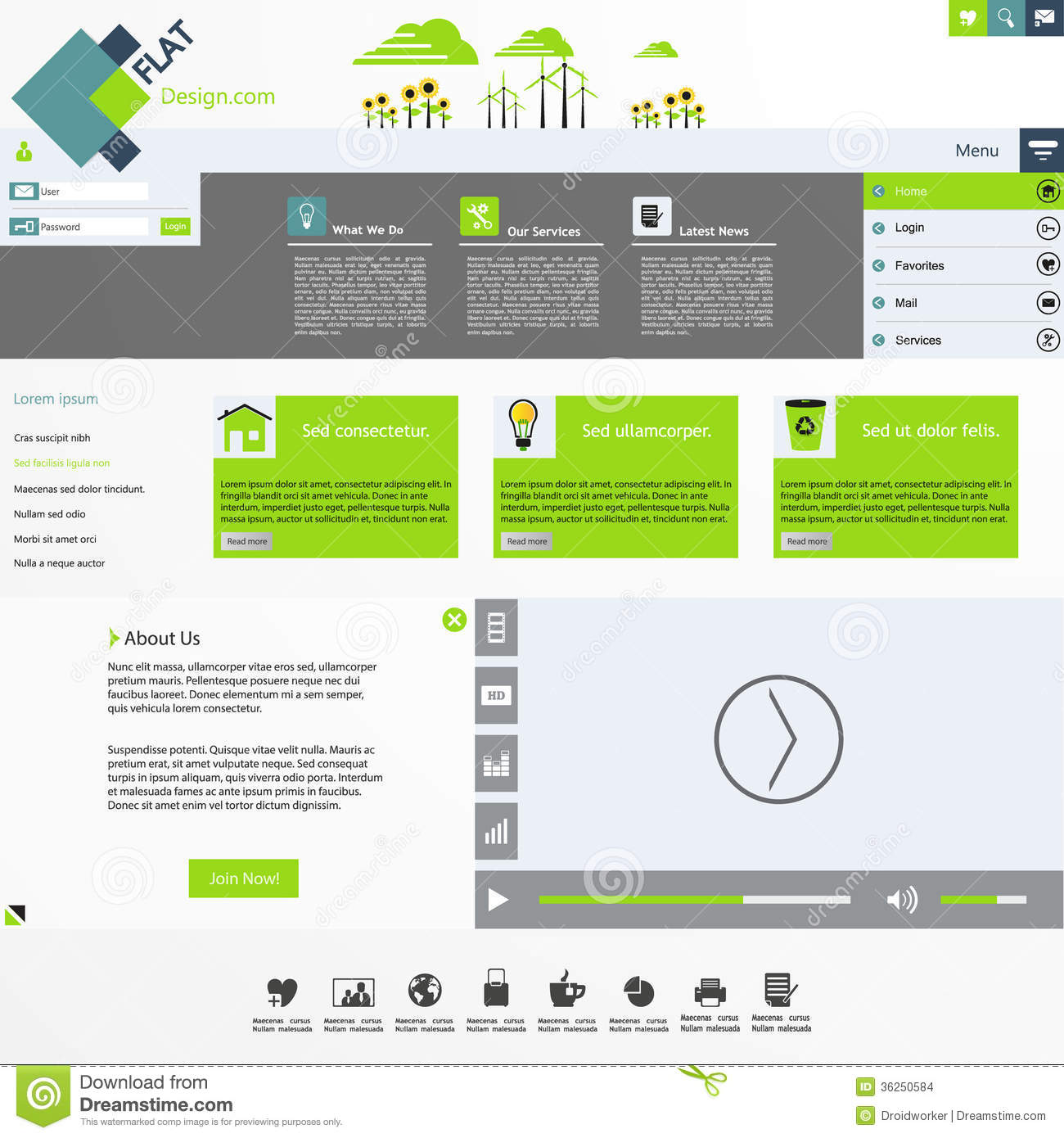 Flat Modern Website Template Stock Images - Image: 36250584