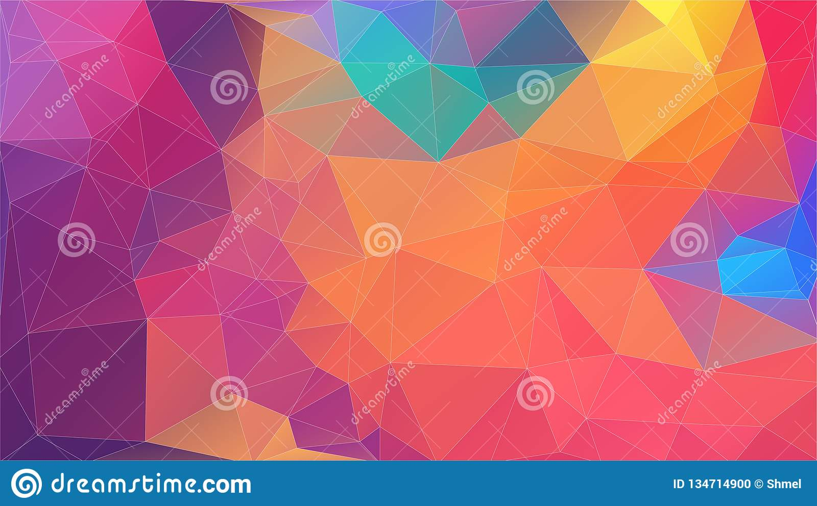 Flat Multicolor Triangle Geometric Wallpaper Stock Vector