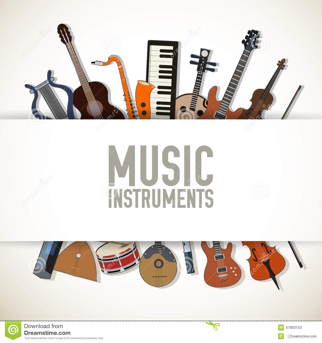 Flat Music Instruments Background Concept. Vector Stock Photo - Image ...