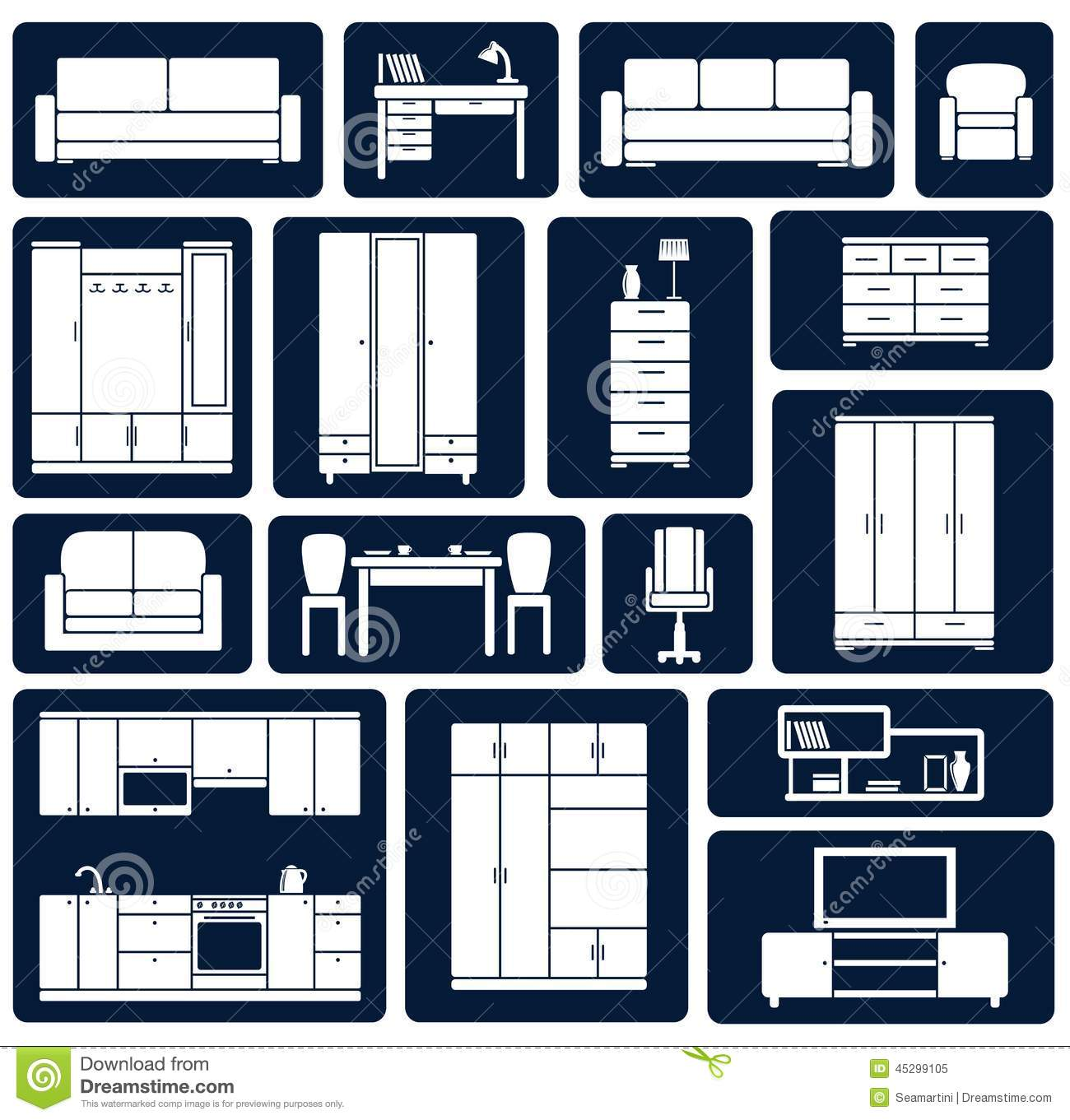 Flat Office And Home Furniture Silhouette Icons Stock