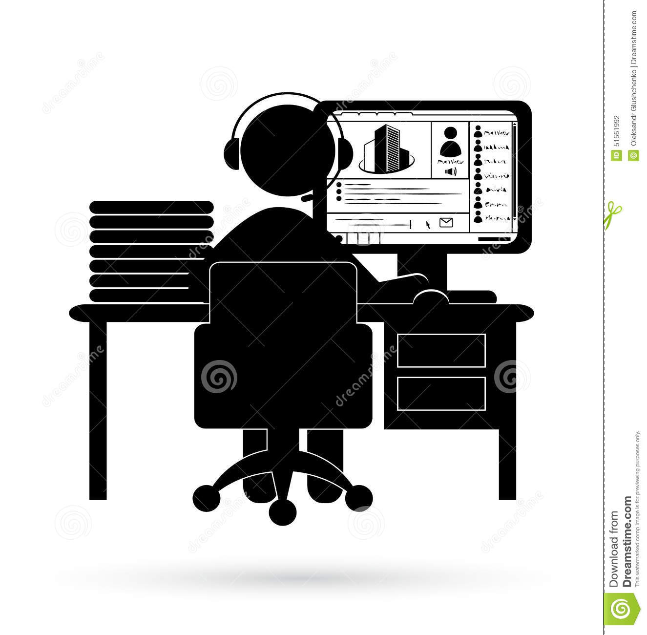 Flat Office Online Webinar Icon Isolated On White Stock ...