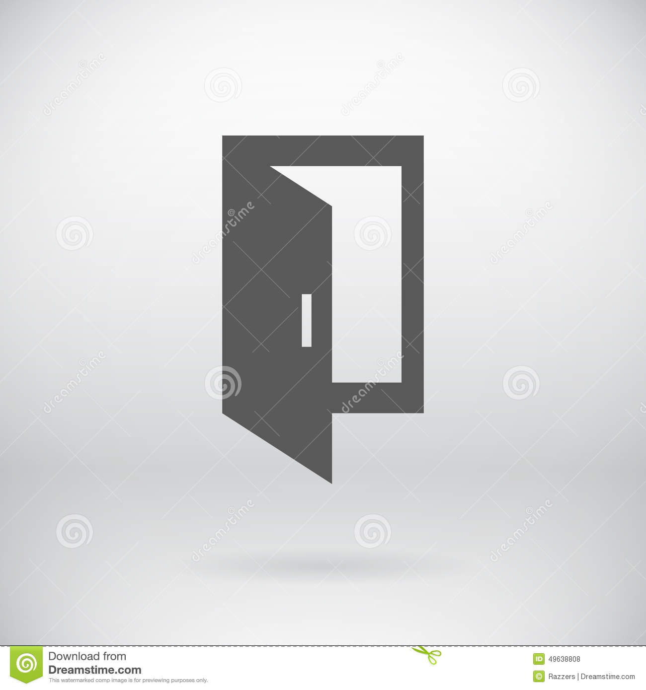 flat open close door vector entrance exit symbol stock