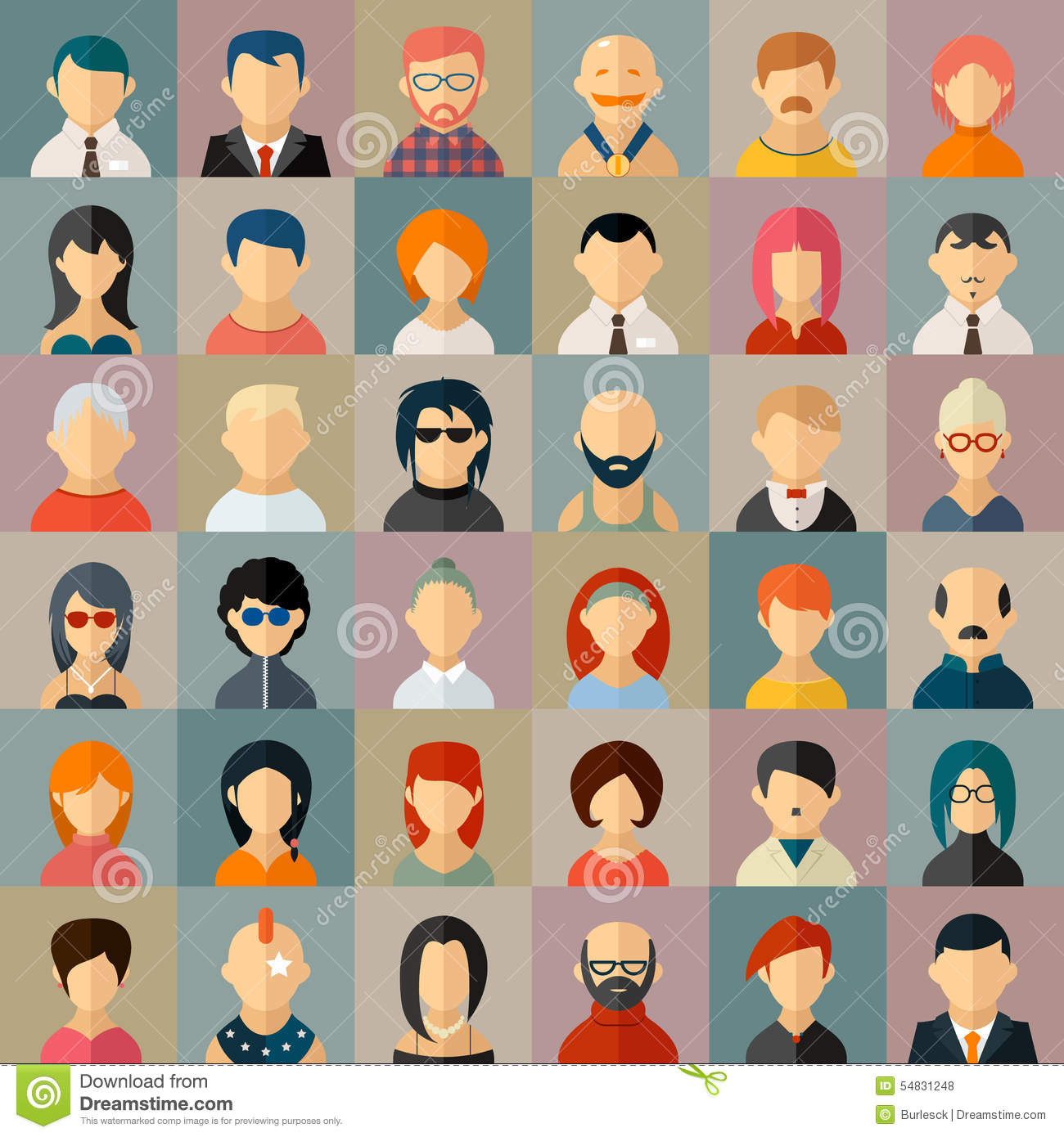 Flat People Character Avatar Icons Stock Vector