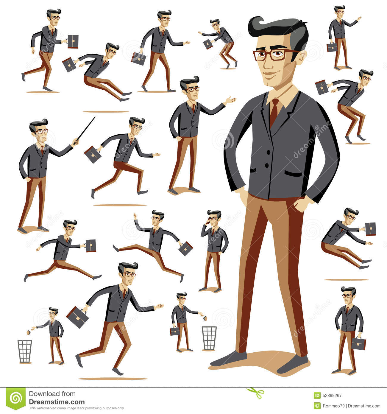 Stock Illustration Flat People Icons Situations Web Infographic Vector