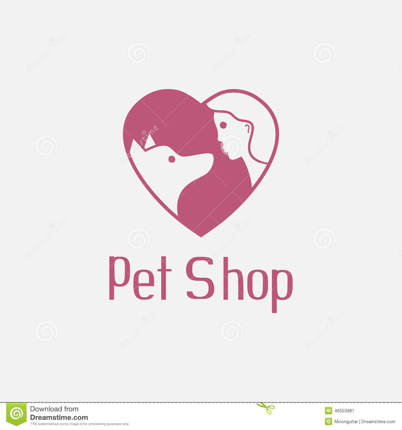 Flat pet shop logo with dog and man are best