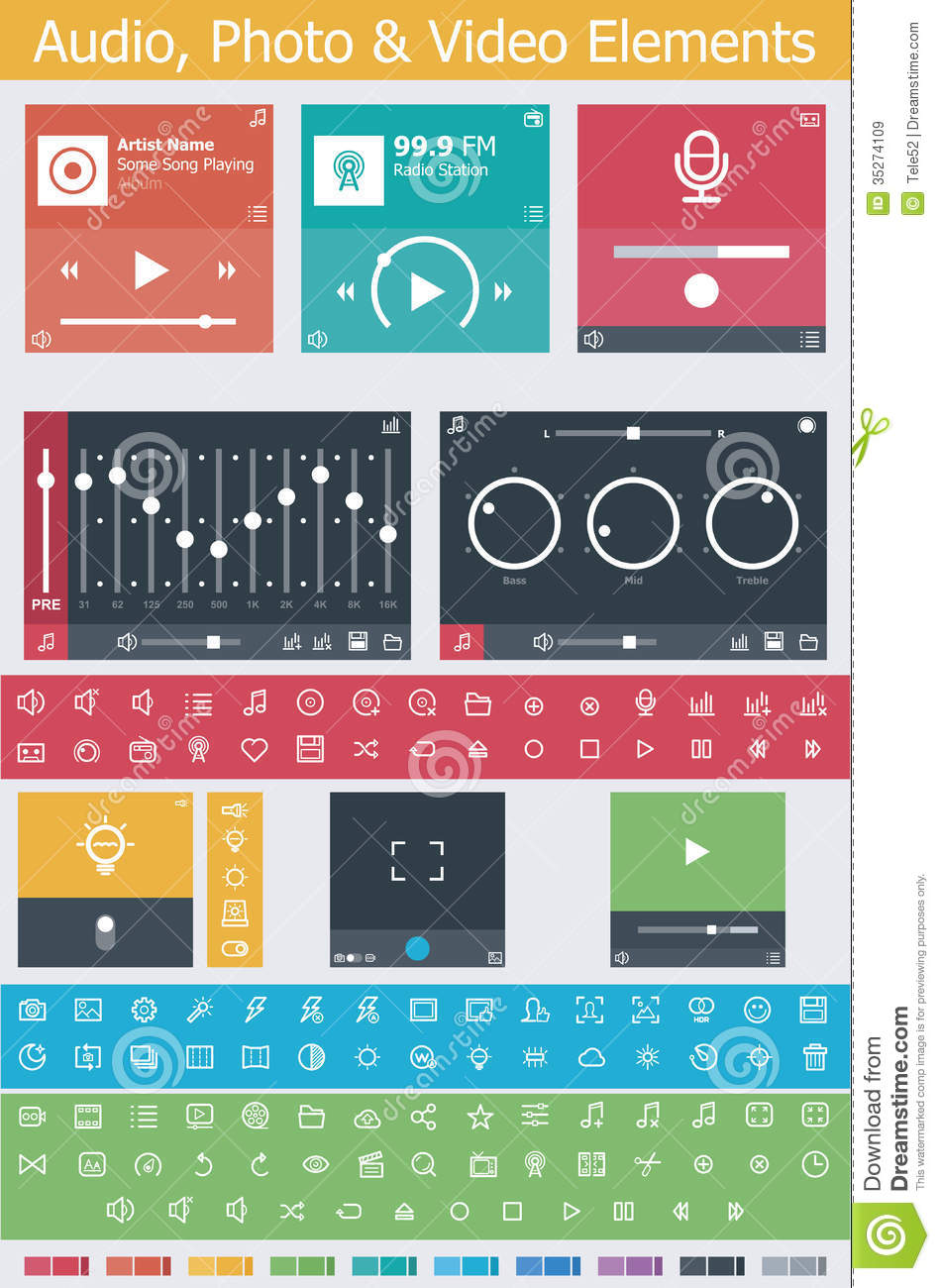 Download Flat Photo, Video And Audio App UI Elements Stock Vector - Illustration of flat, illustration: 35274109