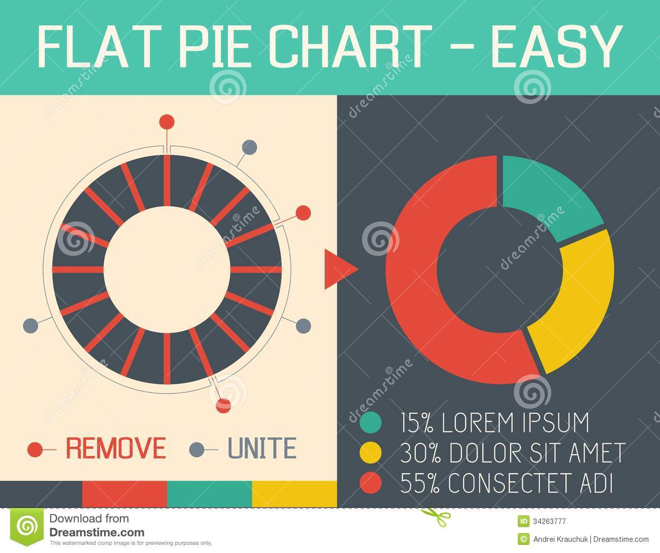 Flat Pie Chart Royalty Free Stock Photography