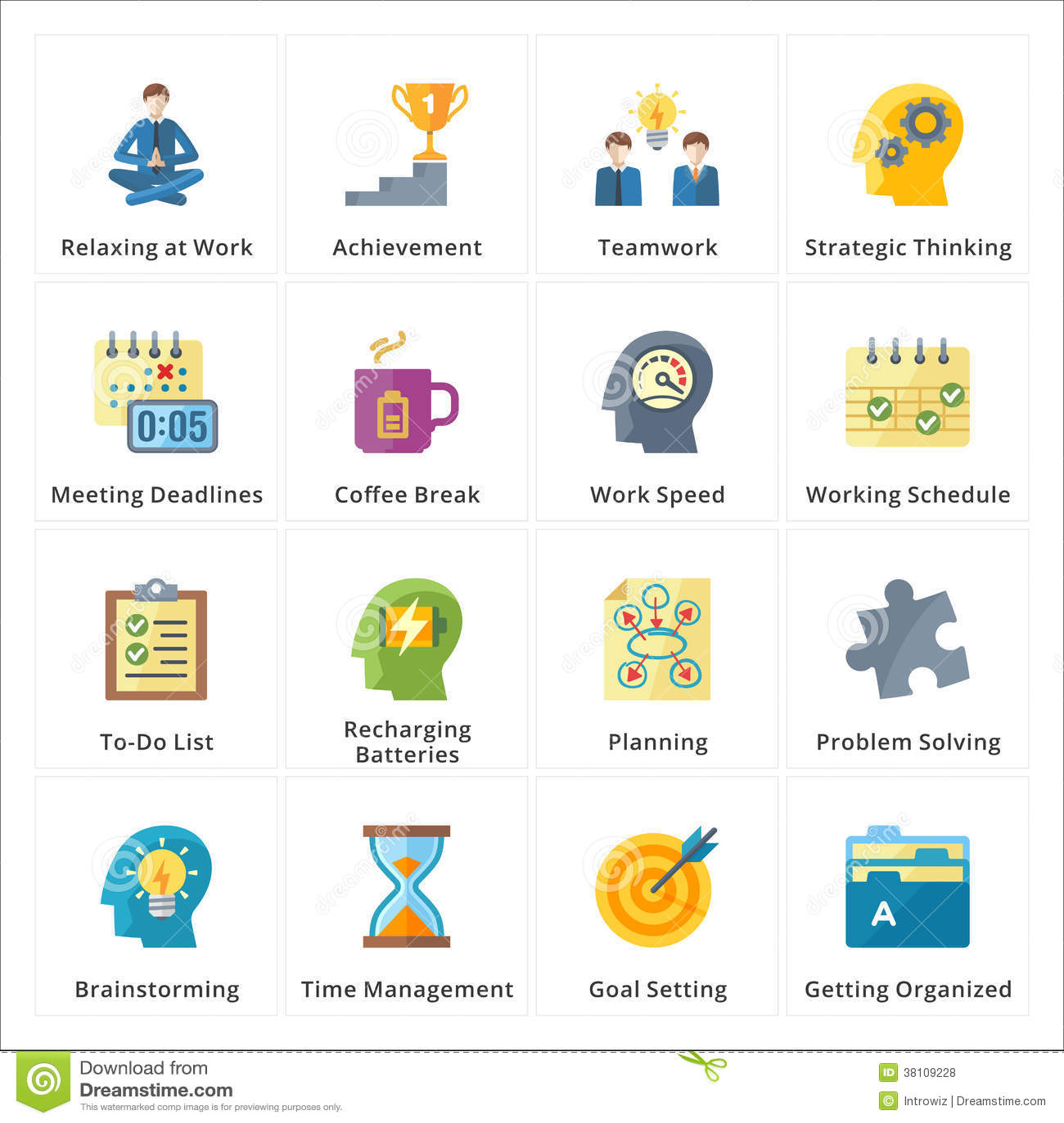 Flat Productivity At Work Icons Royalty Free Stock Photos
