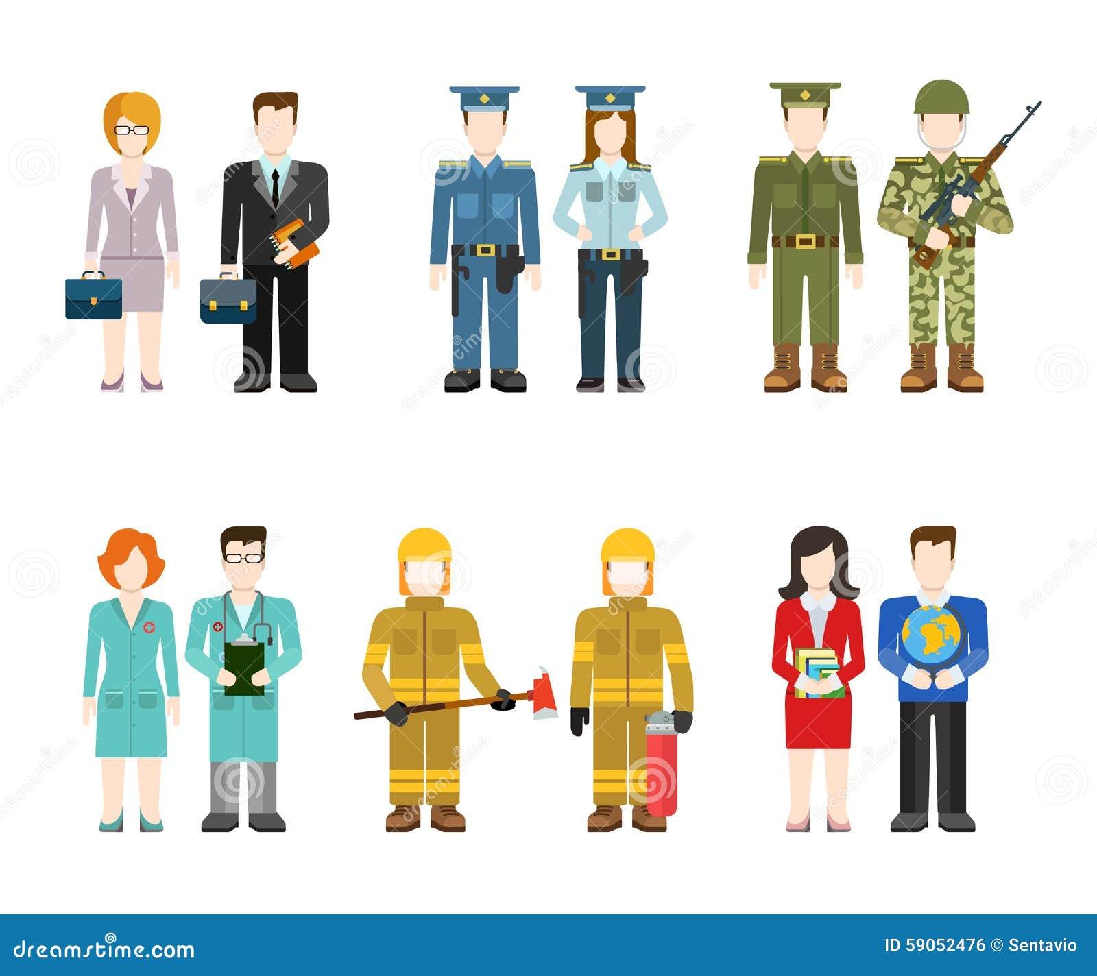 Character Design Job Singapore : Flat professions uniform army police doctor fireman