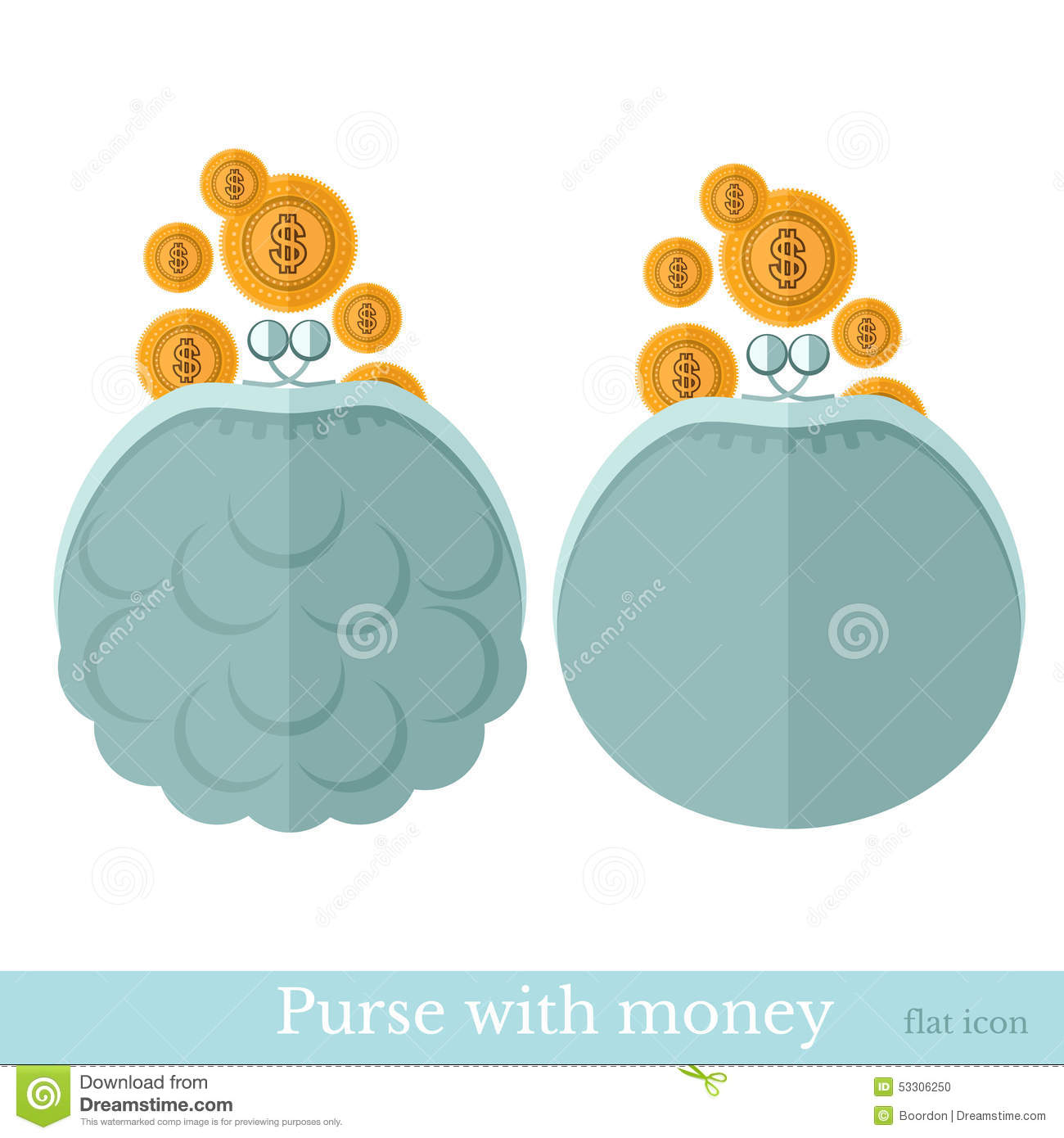 Flat purse or pouch with gold coins