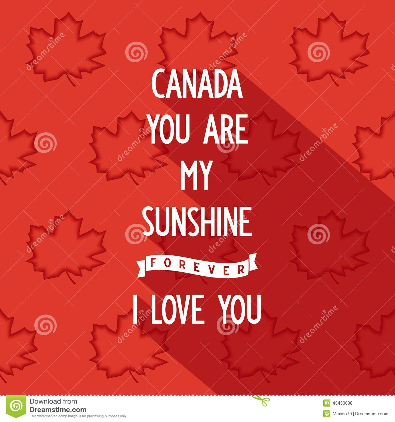 Flat quote poster design Canada you are my sunshine forever  i love    Quote Poster Design