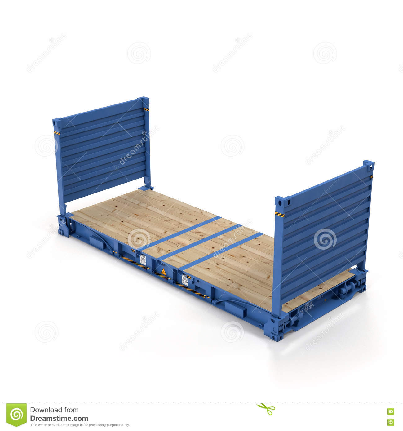 flat rack container isolated on white 3d illustration stock illustration illustration of. Black Bedroom Furniture Sets. Home Design Ideas