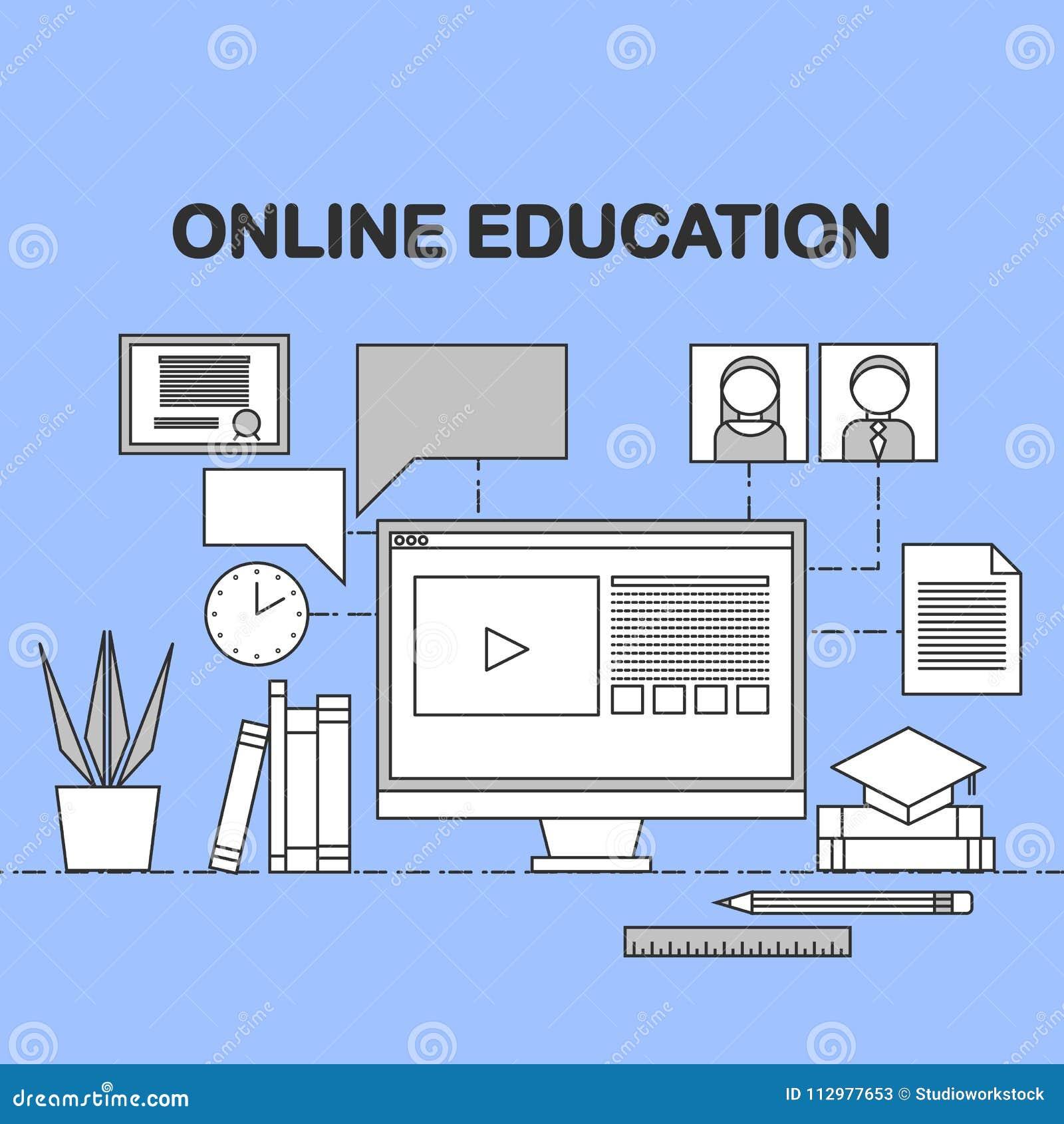 Flat raster linear illustration of e-learning