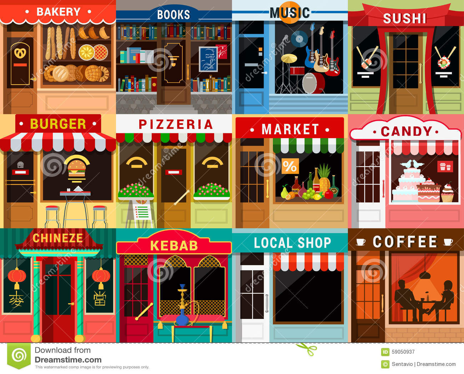 Flat Restaurant Cafe Shop Exterior Kebab Coffee Bakery Pizzeria Illustration 59050937 Megapixl