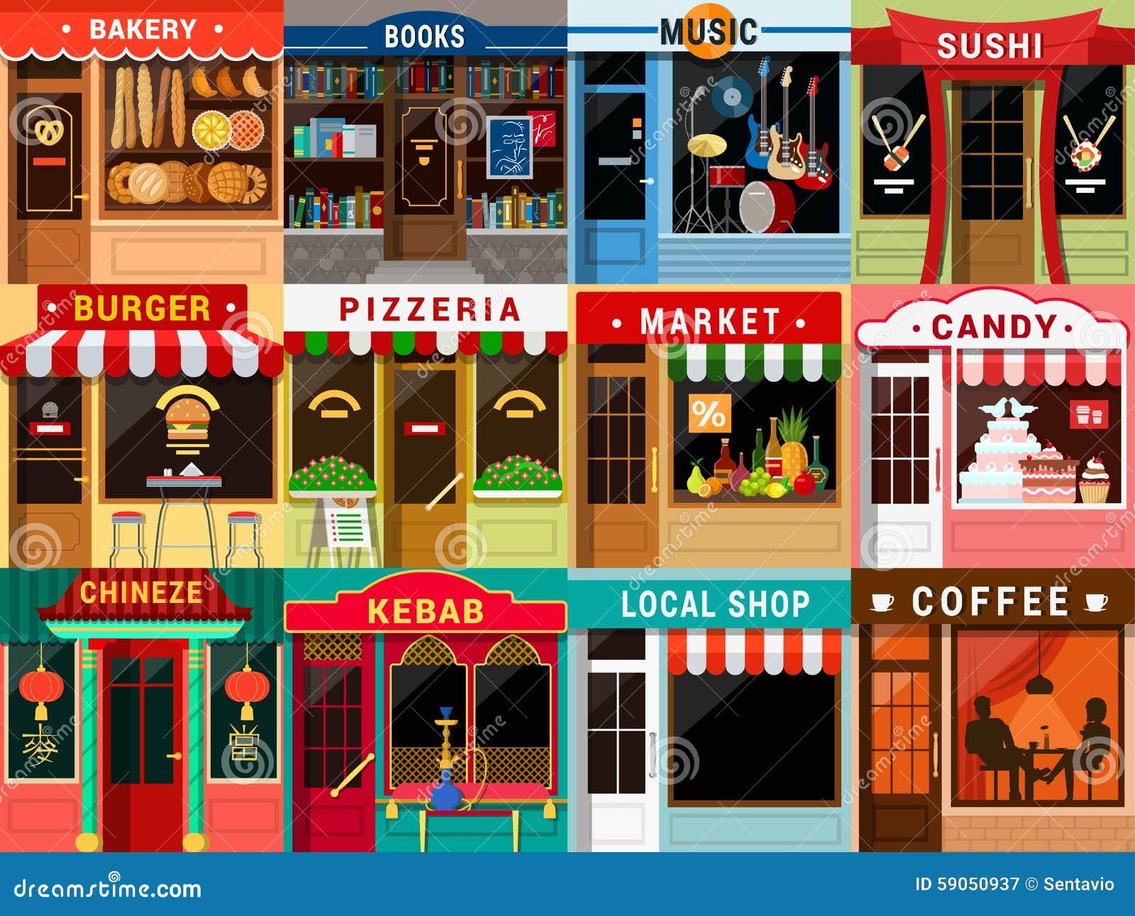 Flat Restaurant Cafe Shop Exterior: Kebab Coffee Bakery
