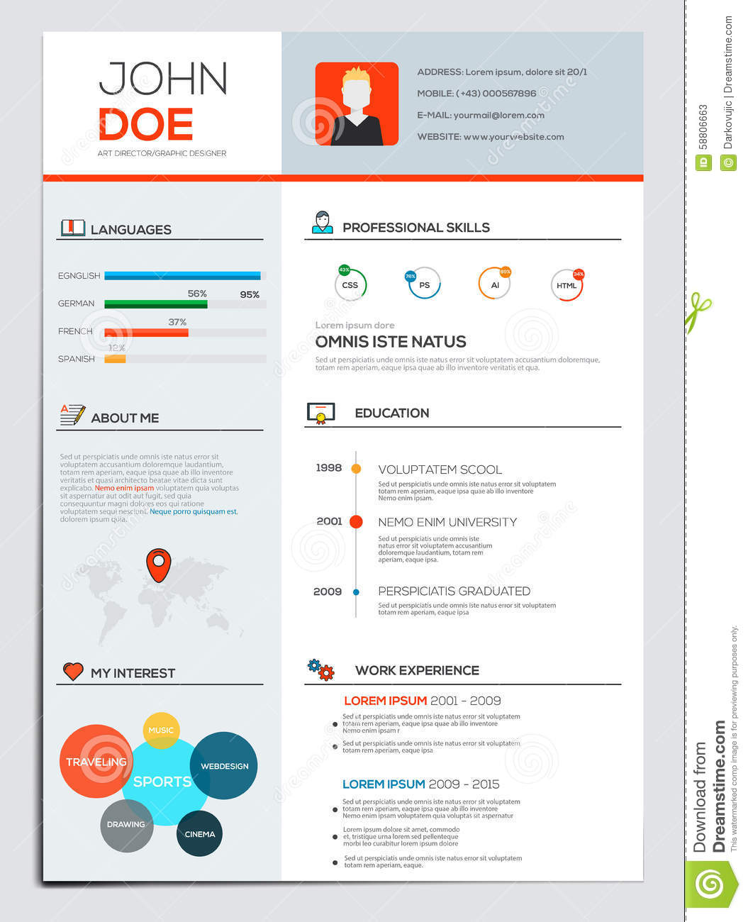 flat resume with infographics stock vector