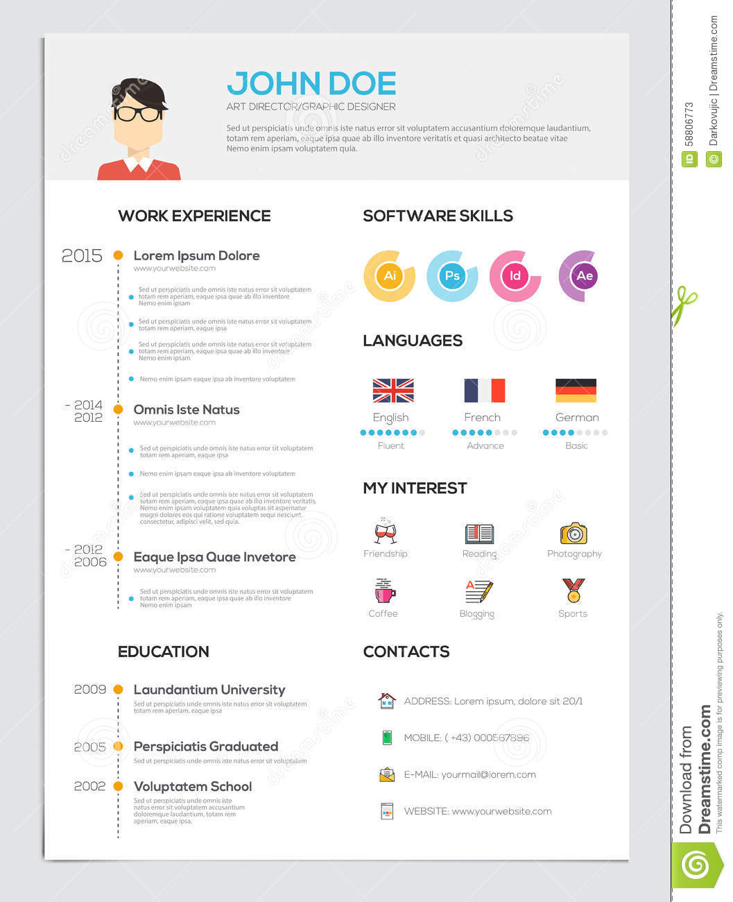 Flat Resume With Infographics Stock Vector Image