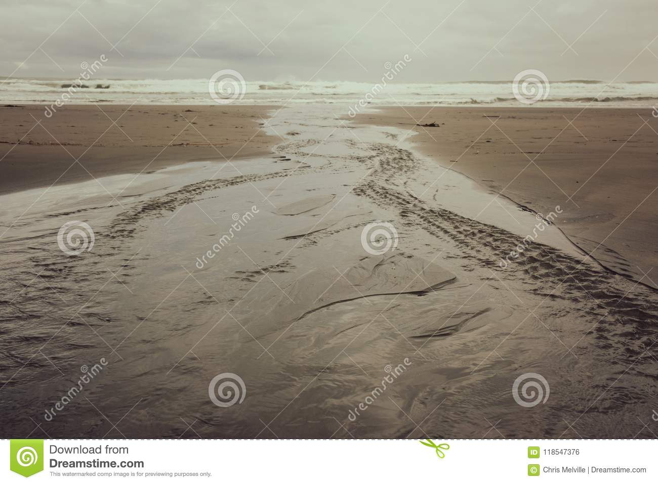 A Flat Meandering River leads down the Beach