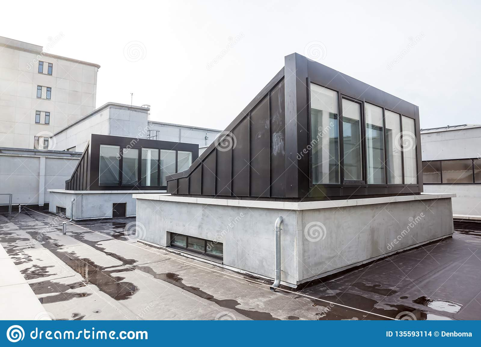 Flat Roof With Dome Stock Photo Image Of Architecture 135593114
