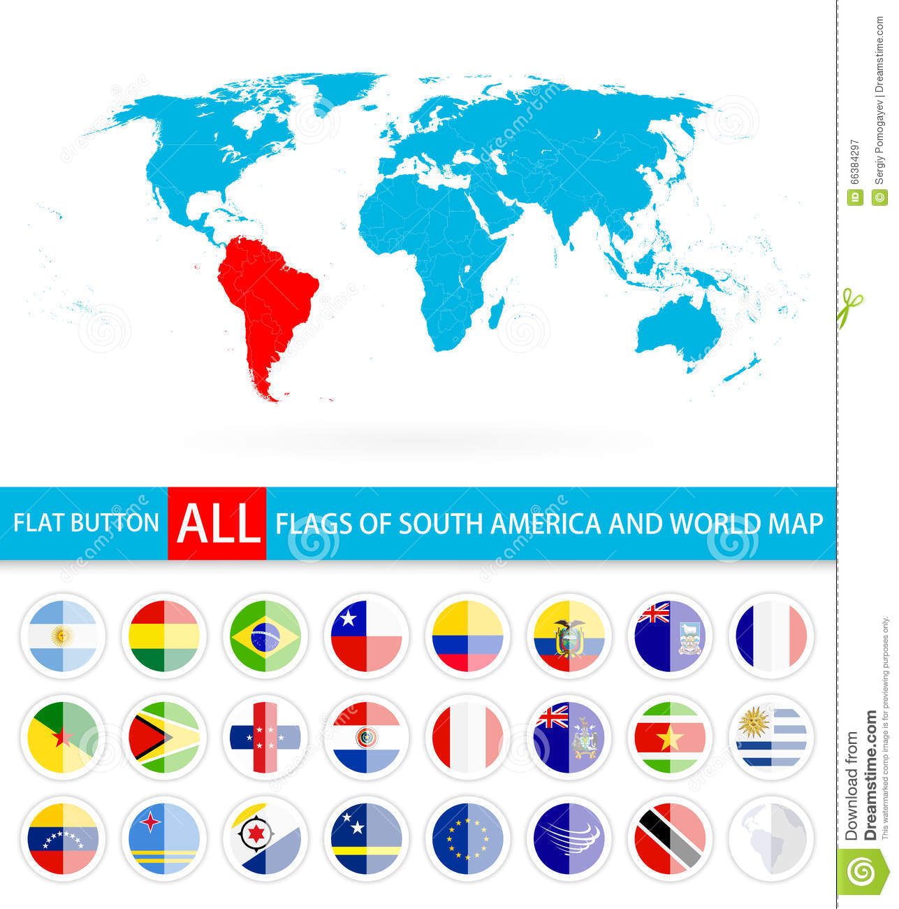 Flat round flags of south america complete set and world map stock flat round flags of south america complete set and world map royalty free vector gumiabroncs Choice Image