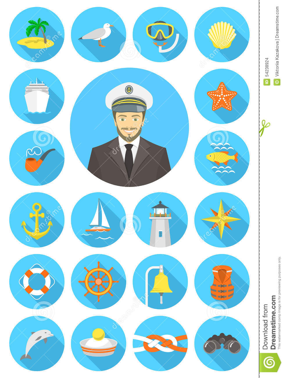 Flat round nautical icons with young attractive captain
