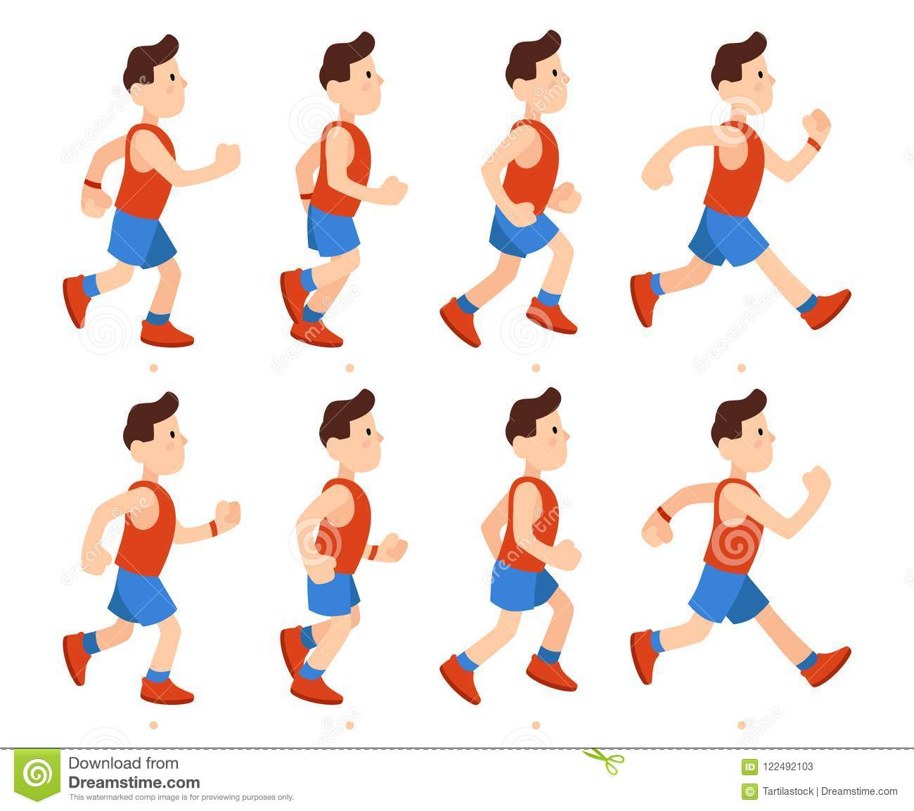 Flat Running Man. Athletic Boy Run Animation Frames Sequence. Runner ...