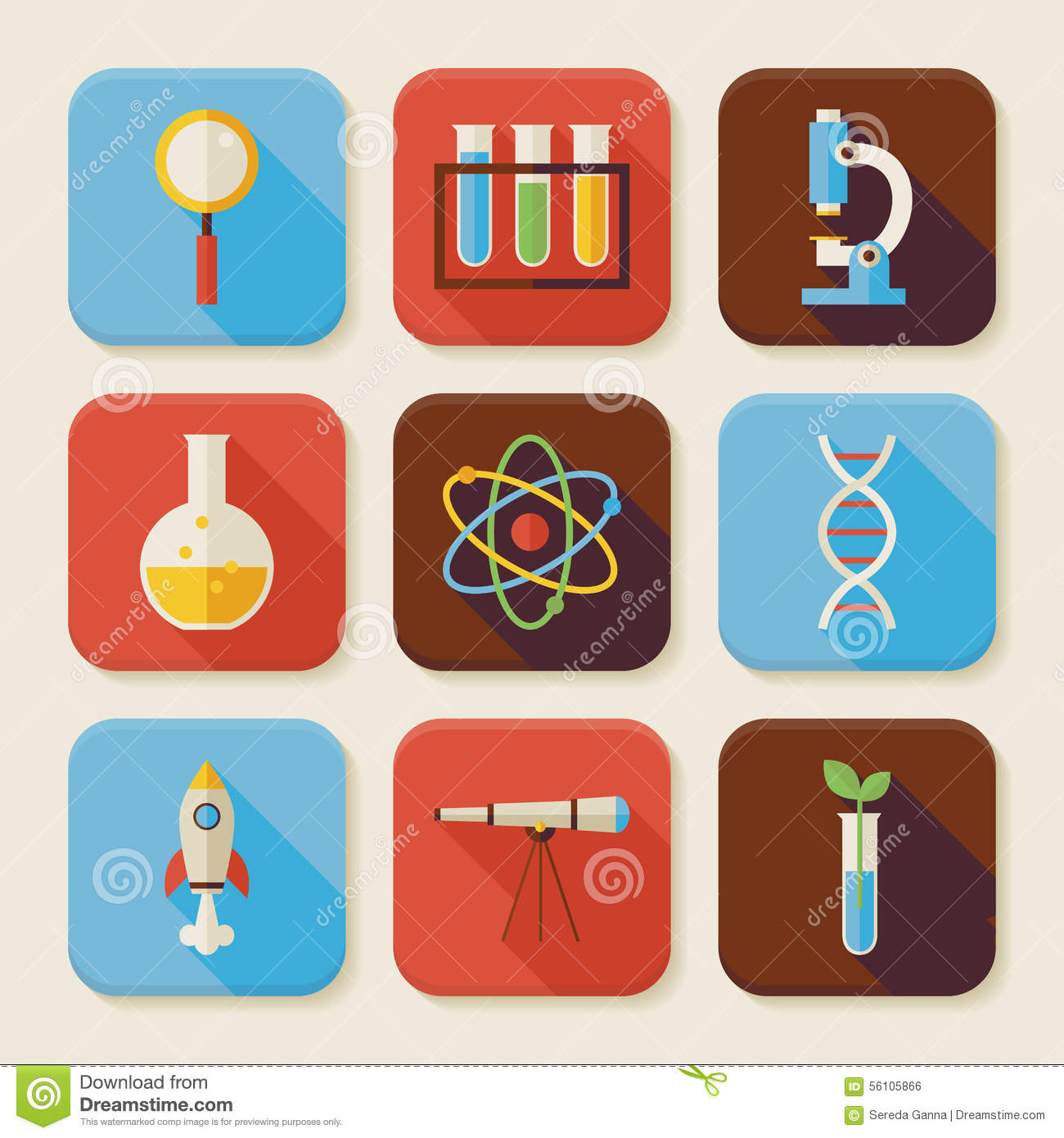 flat science and education squared app icons set vector