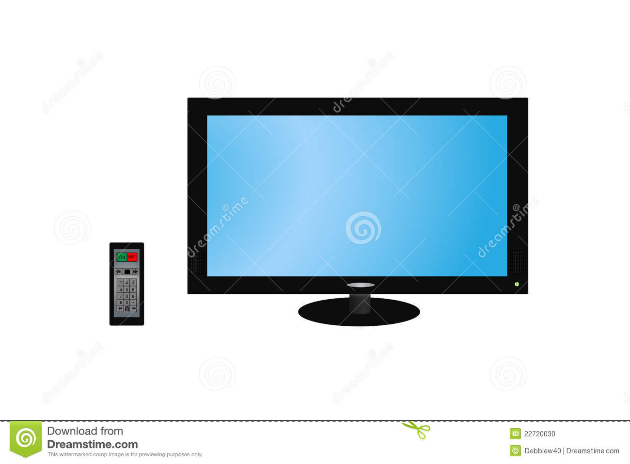 Flat Screen HD TV With Remote Stock Illustration - Illustration of