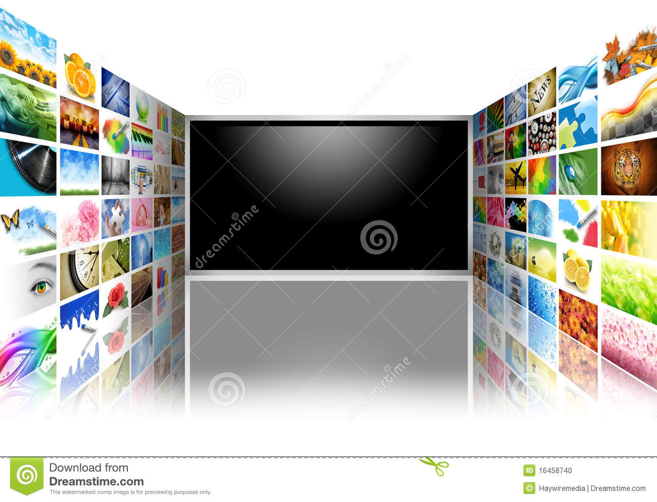 Flat Screen Television with Images on White