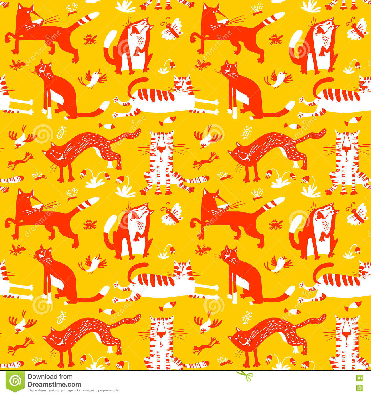 Flat Seamless Pattern With Funny Cats Vector Background In Chil